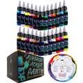 OPHIR Airbrush Acrilico FAI da TE Vernice di Inchiostro per il Modello Scarpe di Cuoio Dipinto Unghie artistiche 24 Colori Airbrush Vernice di DIY TA005 (1 -24)