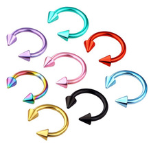 2pcs Colorful Stainless Steel Nose Ring Piercing Horseshoe Spike Septum Eyebrow Tragus Helix Pircing Lip Nari