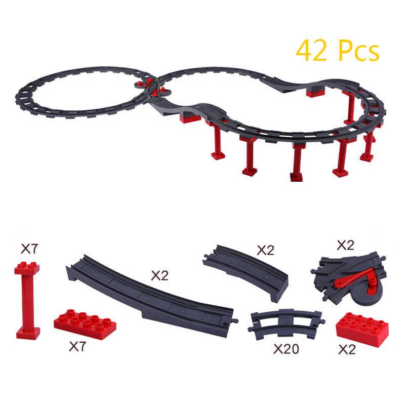 חלקיקים גדולים אבני בניין חשמלי קטר רכבת תא אביזרי תואם עם Duploed צעצועים לילדים מתנה