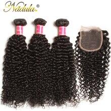 Бразильские кудрявые волосы Nadula, пряди с закрытием 4*4, человеческие волосы Remy, пряди с закрытием, 3 пряди с закрытием