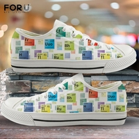 FORUDESIGNS Periodic Table of Elements Pattern Shoes Women 2020 Fashion Ladies Low Top Canvas Sneakers Female Vulcanized Shoes