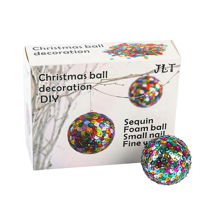 Sequin Christmas Ball DIY Fancy Sequins Decoration Glass Ball Ornament Christmas Sequins Foam Ball  Kids Craft