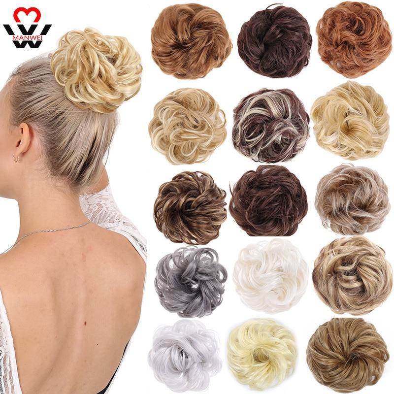 MANWEI синтетические шиньоны для наращивания волос с лентой для конского хвоста