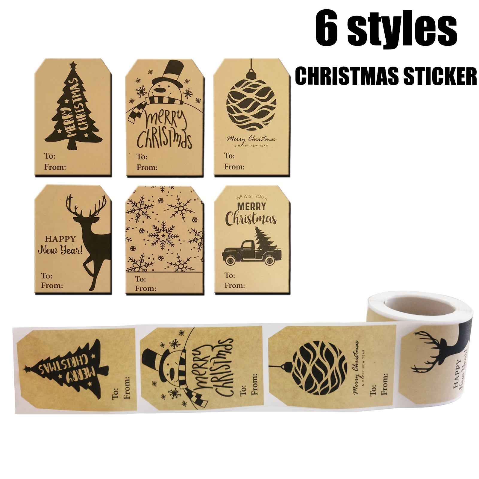 150pcs Christmas Kraft Paper Gift Tag Stickers Christmas Tree Gift Box Decoration Sticker Seal Label Stationery Sticker 6 Styles