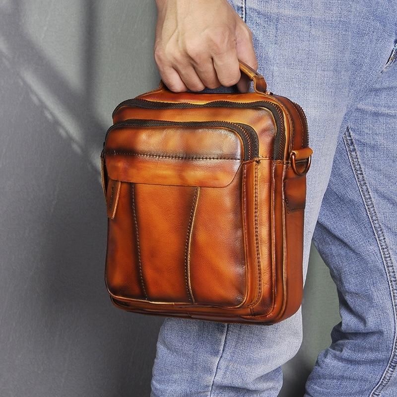 Original de Couro Bolsa de Moda Masculino Design Casual Ombro Mensageiro Cruz-corpo 8 Tablet Tote Mochila Bolsa 149-ou