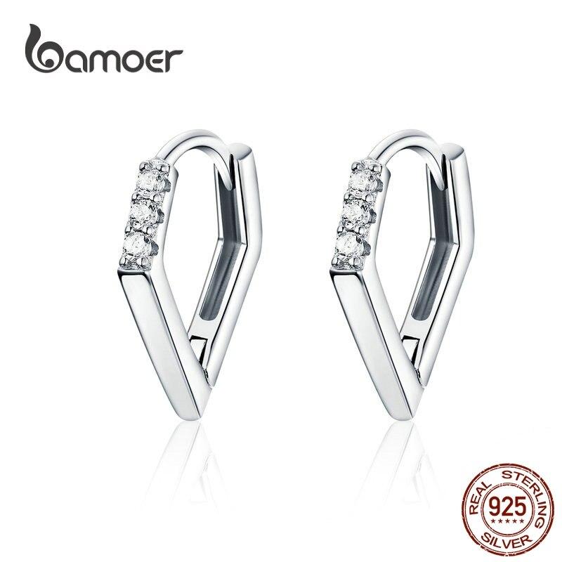 Bamoer V Shape Hoop Earrings Hiphop Silver Earrings For Women Men Authentic 925 Sterling Silver Punk Fashion Jewelry BSE162