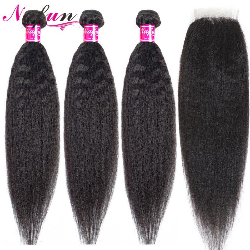 Nafun Kinky Straight Hair Bundles With Closure Human Hair Wave Bundles With Lace Closure Peruvian Non-Remy Human Hair Extension