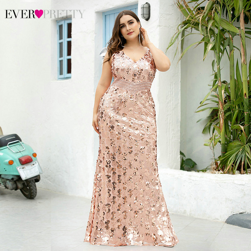 Plus Size Mermaid Evening Dresses Ever Pretty Sleeveless Double V-Neck Draped Sparkle Sexy Formal Party Gowns Robe Soiree Rouge