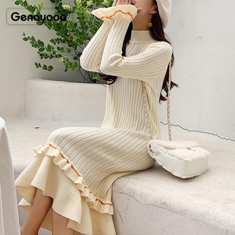 Genayooa 2019 Women Dress Elegant Knitted High Quality Winter Dresses Casual Fishtail Dress Long Sleeve Mid Calf Vestidos Female 43