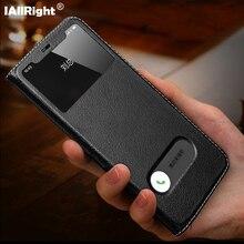 럭셔리 Litchi 질감 정품 가죽 뒤집기 커버 케이스 아이폰 11 프로 최대 7 8 플러스 X XS XR 창보기 전화 가방 스탠드 Coque