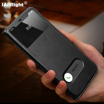 Luxury Litchi Texture Genuine Leather Flip Cover Case For iPhone 11 Pro Max 7 8 Plus X XS XR Window View Phone Bags Stand Coque