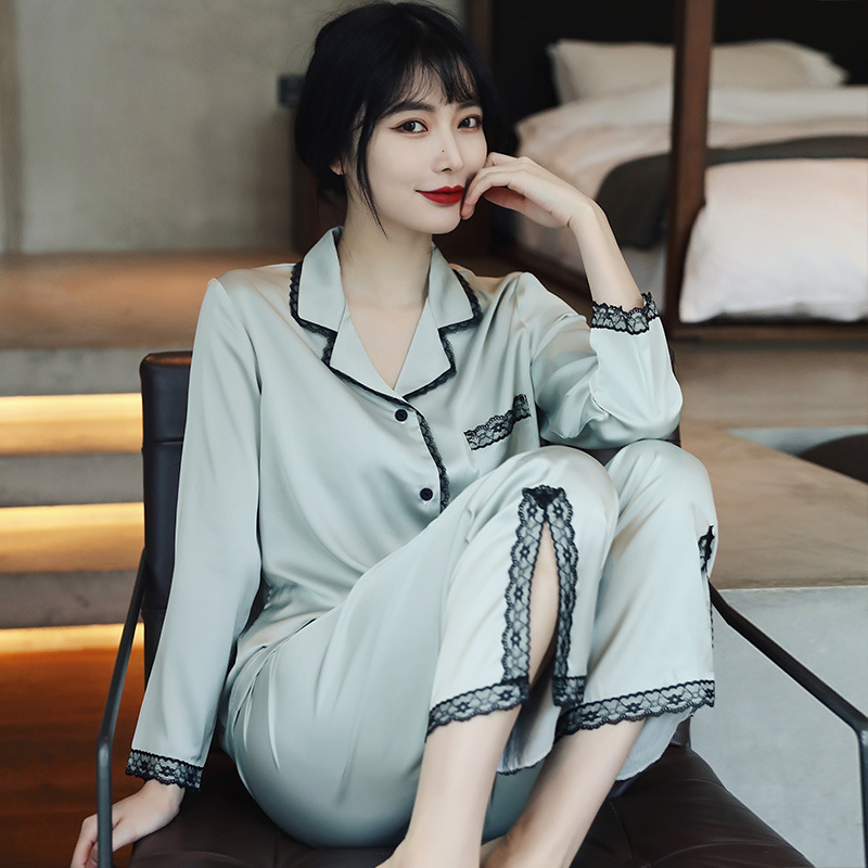 Summer 2021 New Women's Silk Pajamas Sexy Long-Sleeved Temperament Tracksuit Two-Piece Suit