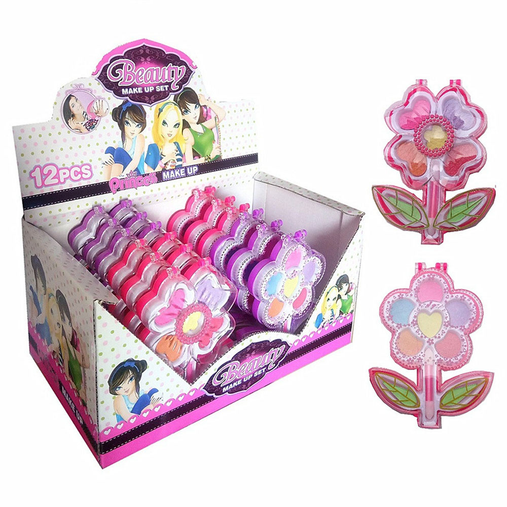 DIY Washable Makeup Tools For Grils Children Simulation Lipstick Eye Shadow Pretend Play Cosmetics Kit Toys Gifts