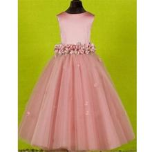 Dress Little Satin-Belt First-Communion-Dresses Baptism Girl Kids Crystal Pearls Bride