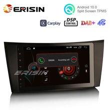 """Erisin ES4281E 8 """"HD 안 드 로이드 10.0 자동차 스테레오 GPS WiFi 4G TPMS DVR DAB DVD CarPlay DSP 벤츠 E 클래스 W211 W463"""