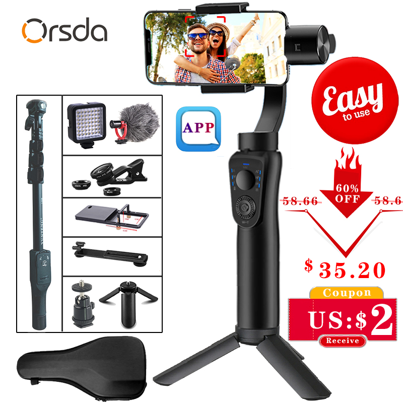 Orsda 3 Axis Handheld Stabilizer Gimbal Smartphone Phone Manual Zoom Face Tracking For IPhone11 Pro Plus S9 S8 Gopro Camera