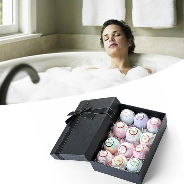 12Pcs Color Petal Series Bathing Bath Ball Set Gift Box Bathing Bubble Ball Bubble Bomb Bath Salt Set 1