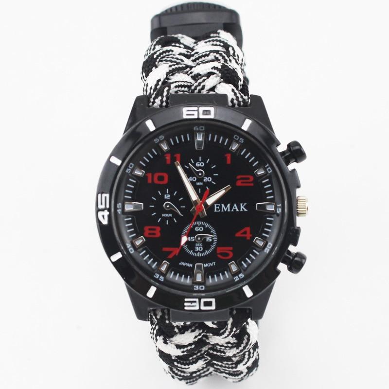 -Emak Outdoor Seven Core Umbrella Rope Compass Weaving Watch Band Multi-functional Watch