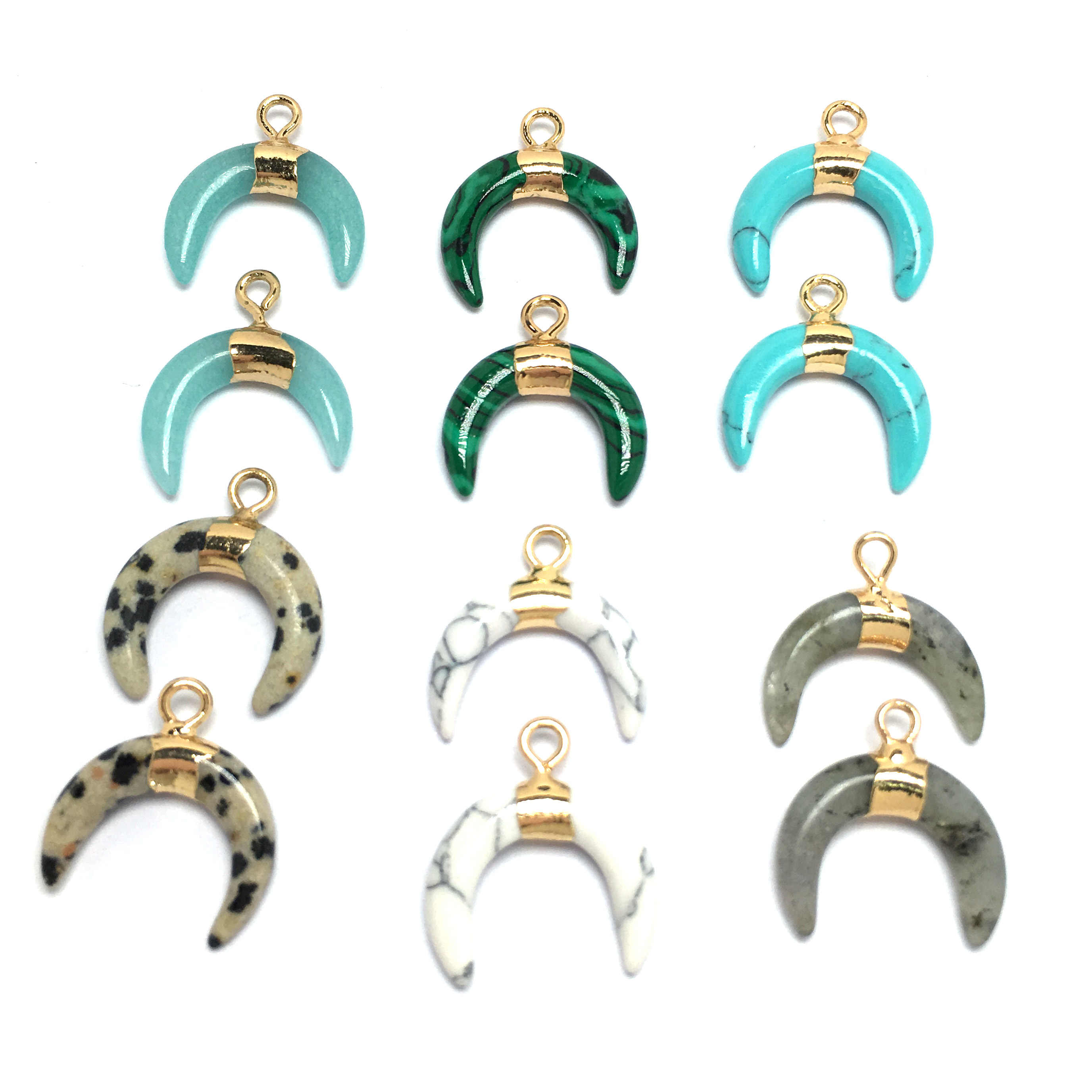 Sıcak satış ay şekli doğal taş kolye kolye Charms kolye takı yapma malzemeleri Fit kolye 16x17mm