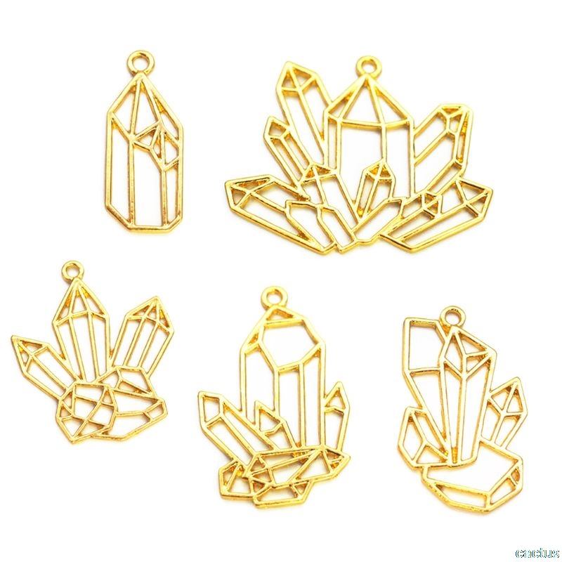 5Pcs Cluster Crystal Stone DIY Gold Metal Frame Pendant Jewelry UV Resin Charms Bezel Setting