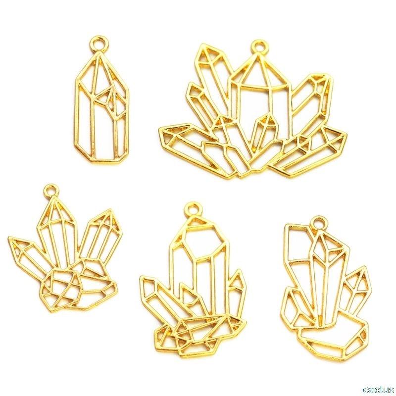 5Pcs Cluster Crystal Stone DIY Gold Metal Frame Pendant Jewelry UV Resin Charms Bezel Setting