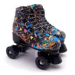 2020 новый стиль, шнуровка, искусственная кожа, для взрослых, двухрядные роликовые коньки с прочным PU колесным тормозом, женские, Мужские роли...