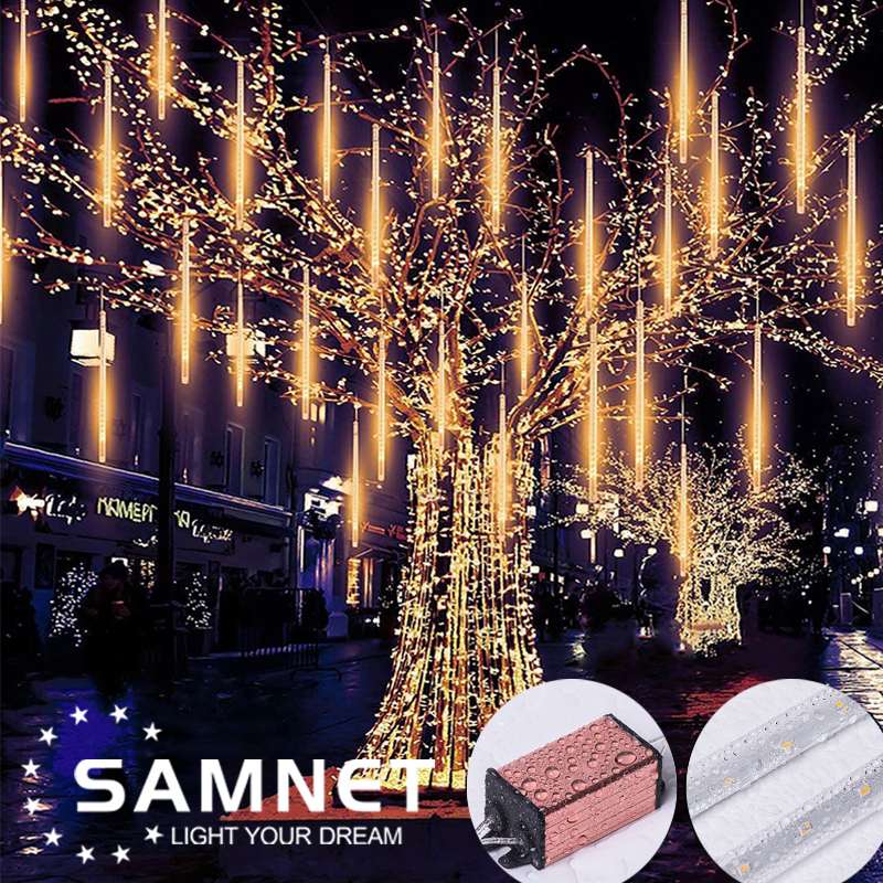 LED 8 Tubes Waterproof Meteor Shower Garland Christmas Decoration for Home Outdoor String Lights As Party Garden Holiday Lights