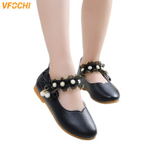 VFOCHI 2019 Girls Leather Shoes for Kids Low Heeled Princess Children Casual Party Teenager Dress