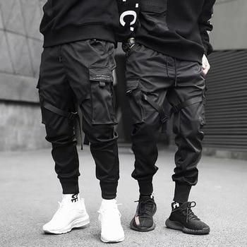 Fitas harem joggers calças de carga dos homens streetwear 2020 hip hop bolsos casuais calças faixa masculina harajuku moda 1