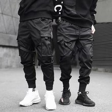 Ribbons Harem Joggers Men Cargo Pants Streetwear 2020 Hip Hop Casual Pockets Track Pants Male Harajuku Fashion Trousers cheap AOWOFS Harem Pants CN(Origin) Flat Polyester Cotton Regular Full Length MP003 High Street Midweight Twill Ankle-Length Pants