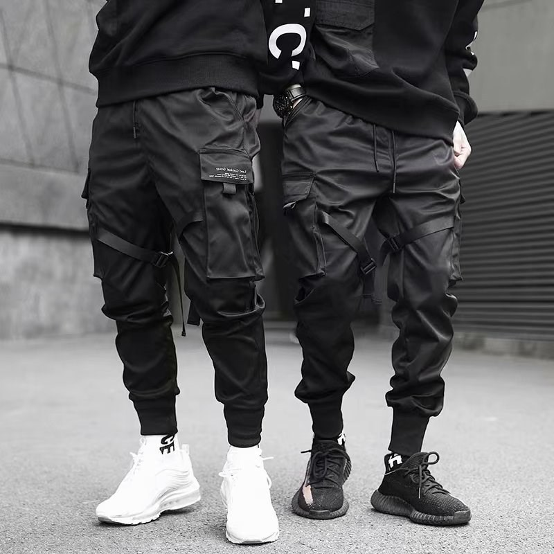 Wstążki Harem Joggers męskie spodnie bojówki Streetwear 2020 hip hopowe casualowe kieszenie spodnie do biegania męskie modne spodnie Harajuku|Spodnie haremki|   -