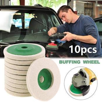 цена на 10pcs/set  Wool Polishing Wheel Beige Buffing Pads Grinding Angle Grinder Wheel Felt Polisher Disc For Stainless Steel aluminum