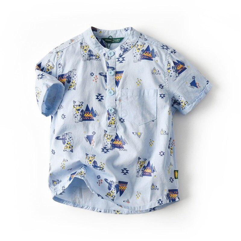 Fashion Summer Children Blue Shirts Cotton Linen Shirt Boy Loose Casual Cartoon Button Short Sleeve Shirt Kids Tops Clothes