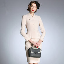 Luxury Dress Suit Jacket Office Ladies Work Formal Business Wear Long Sleeve Midi Pencil Elegant Professional Two Piece set(China)