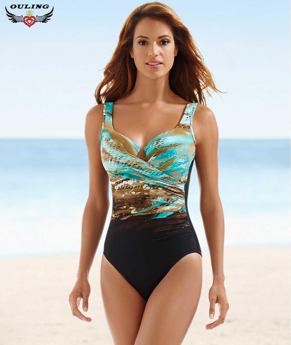 متعدد الألوان النساء طباعة قطعة واحدة المايوه ضمادة عالية قطع عارية الذراعين ملابس السباحة المايوه الرجعية شاطئ Monokini حجم كبير XXXXXL