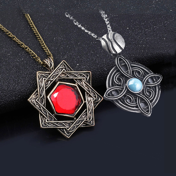 MIDY Game The Elder Scrolls 5 Skyrim Necklaces Amulet of Mara Dark Brotherhood Red Crystal Metal Necklace Cosplay Jewelry Gift image