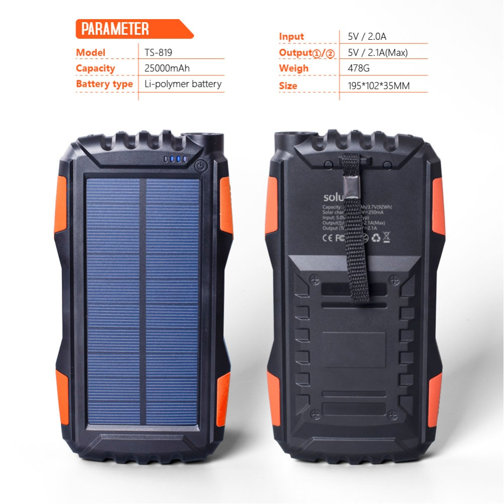IP65 Waterproof 20000mAh High-Capacity Solar Power Bank with LED Flashlight and Dual USB Ports 3