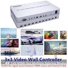 4K HDMI USB Video Wall Controller Player 3 #215 3 Switch 1080P HDTV Usb video wall Processor IR RS232 Control For Public LCD Display tanie tanio KIVOTEK IFI 3C3-4K Zestawy Max 3840x2160 30Hz 1920x1080 30Hz 1x2 2x2 2x3 1x3 3x3 1x4 4x2 etc Video Wall Splicing 1x HDMI 1x USB Disk