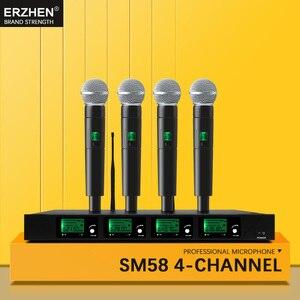 Image 2 - El mikrofonu kablosuz sistemler UHF4 kanal yaka kondenser kulaklık karaoke hoparlörü stüdyosu satılık SM58 için mic şarkıcı