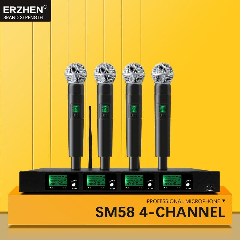 Lapela profissional Microfone Sem Fio UHF Quad Channel Handheld Sem Fio Fones De Ouvido fone de Ouvido Microfone Da Conferência KTV SM58