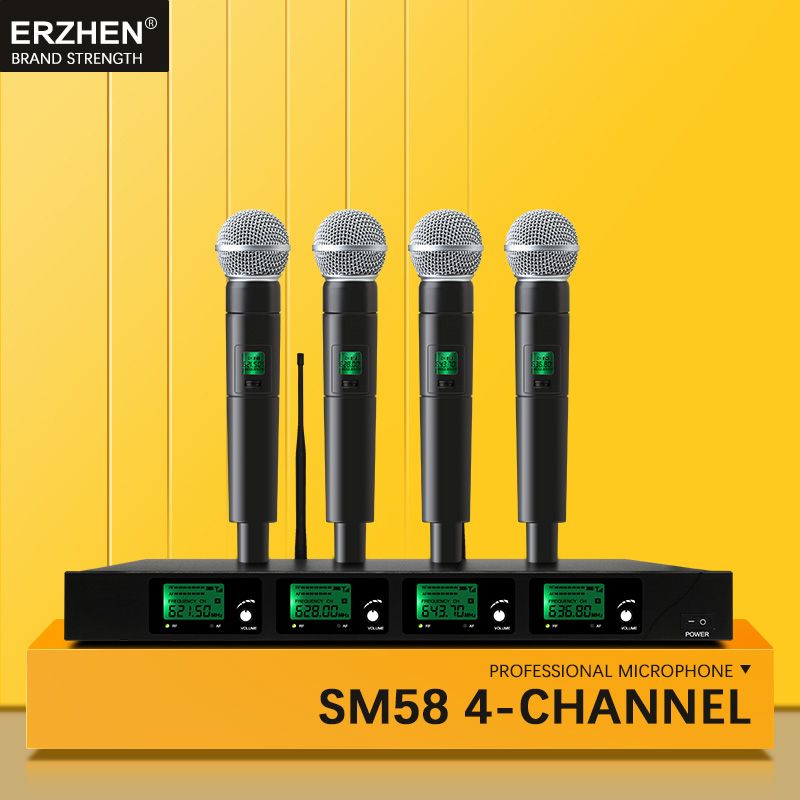 Professional Wireless Microphone UHF Quad Channel Handheld Wireless Lapel Headphones Headset Conference Microphone KTV   SM58