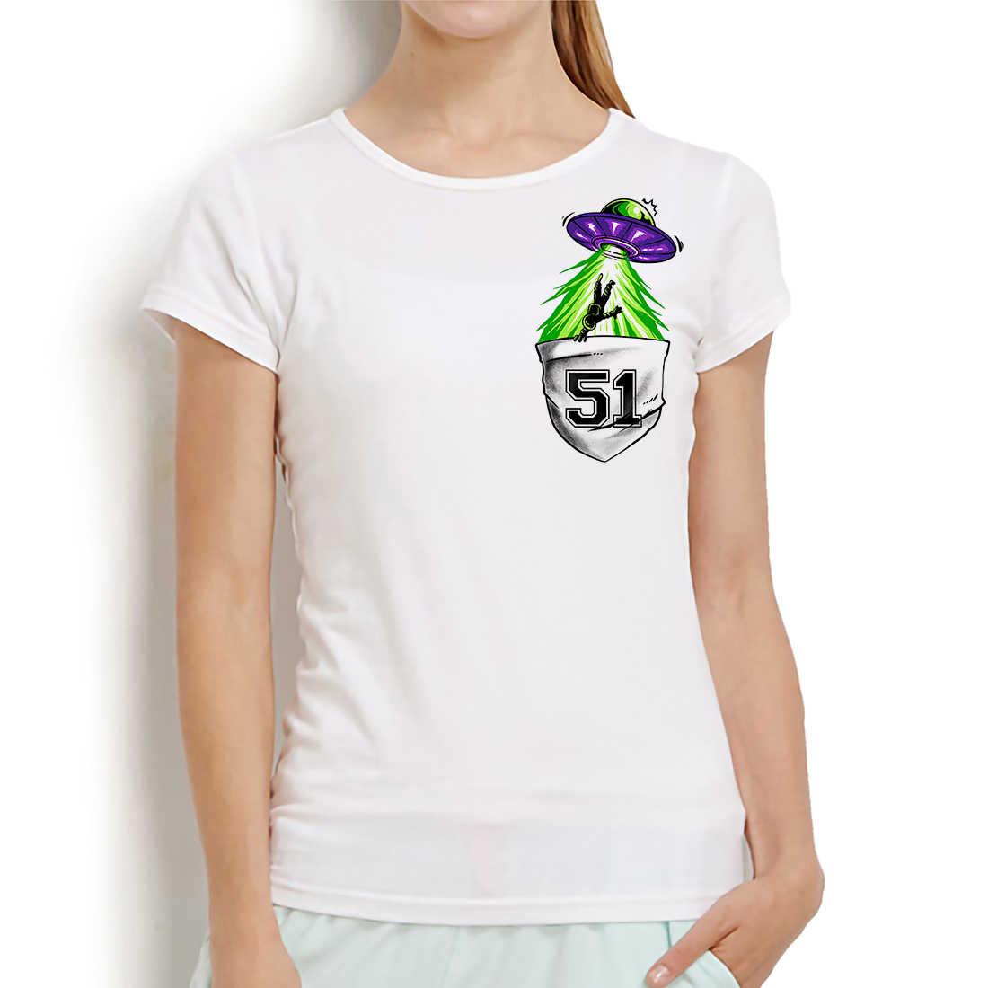 Storm bereich 51 UFO alien in tasche lustige anime t hemd frauen neue weiß casual femme mädchen t-shirt