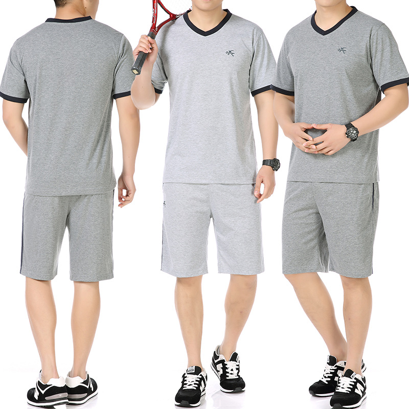 Summer Sports Set MEN'S Short Sleeve Sports Clothing Middle-aged Men's Dad Casual Jogging Suits Middle-aged