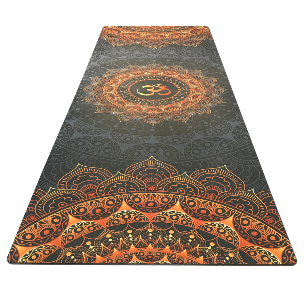 Dark Printing Yoga Fitness Mat Suede Rubber Non-slip Health Yoga Flower Mat Factory Outlet Practice Mat With Ncie Design