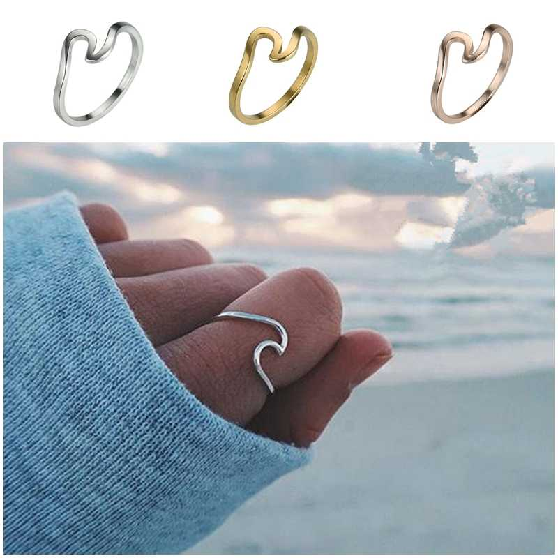 1pcs Wholesale Lots Bulk Alloy Unisex Gold Silver Color Wave Design Band Rings for Women Men Finger Rings Jewelry
