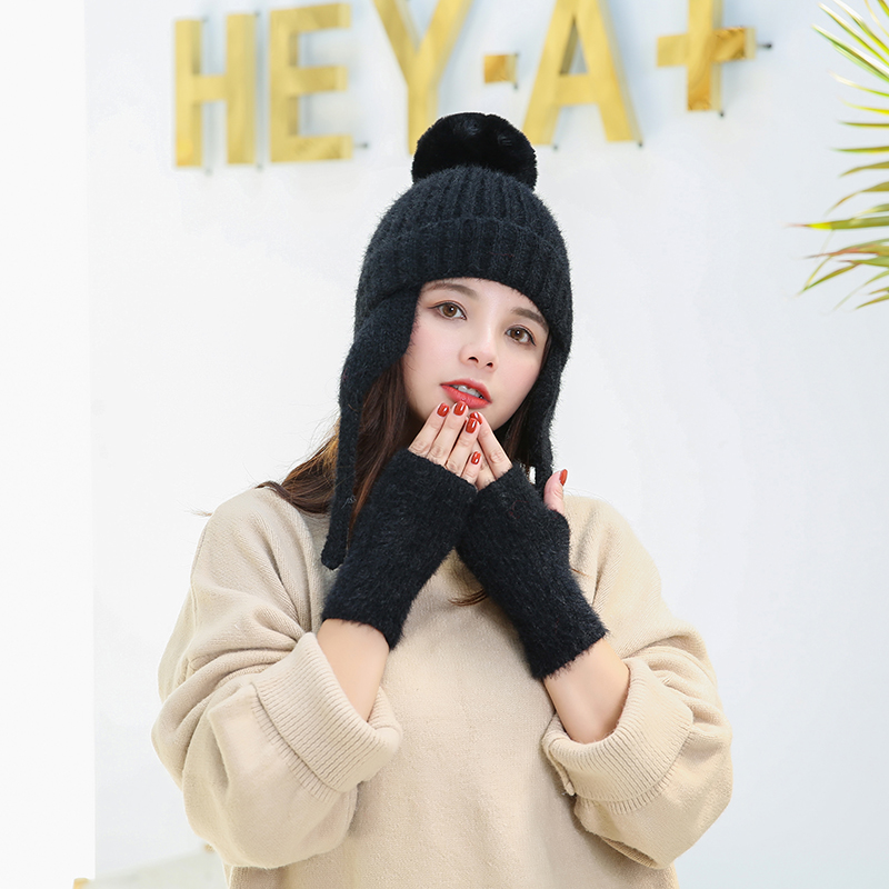 Winter Hat Gloves 2 Pieces Set Pompom Women Fashion Warm Cap Gloves Solid Color