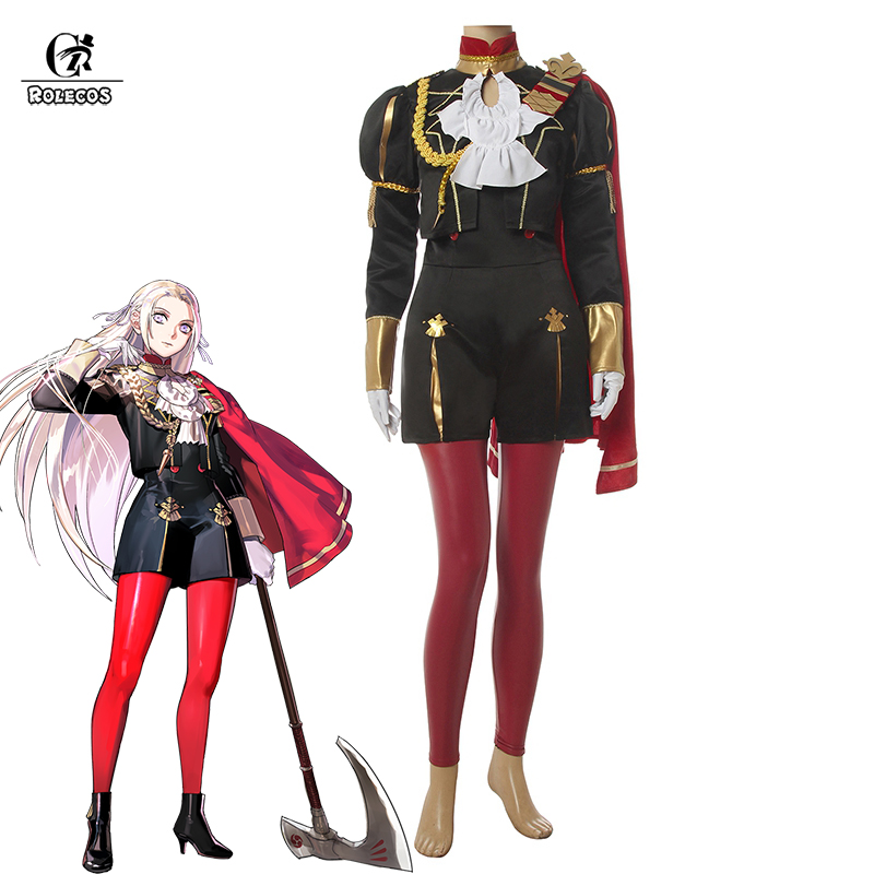 ROLECOS Fire Emblem Edelgard Cosplay Costume Women Game Cosplay Jumpsuit Leather Pants Cape Flame Emperor Costume Cloak Outfit