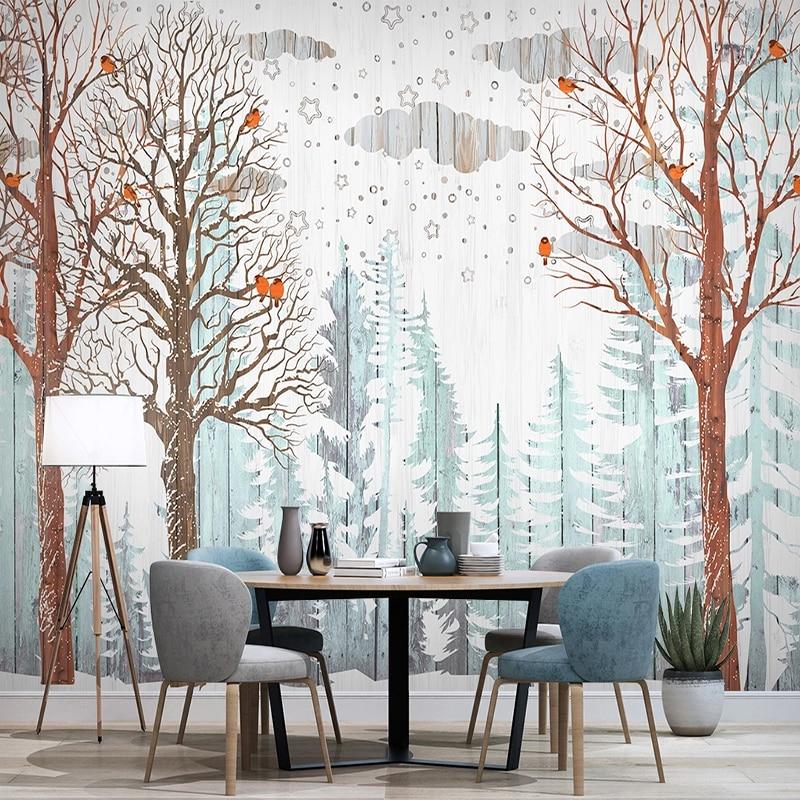 Custom 3D Wallpaper For Walls Nordic Forest Tree Birds Wood Board Modern Mural Restaurant Living Room Bedroom Photo Background