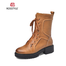 ROSSTYLE Handmade Woman Basic Ankle Boots High Quality Genuine Leather Round Toe Square Heel Shoes Solid Lade-up Zipper Boots недорого