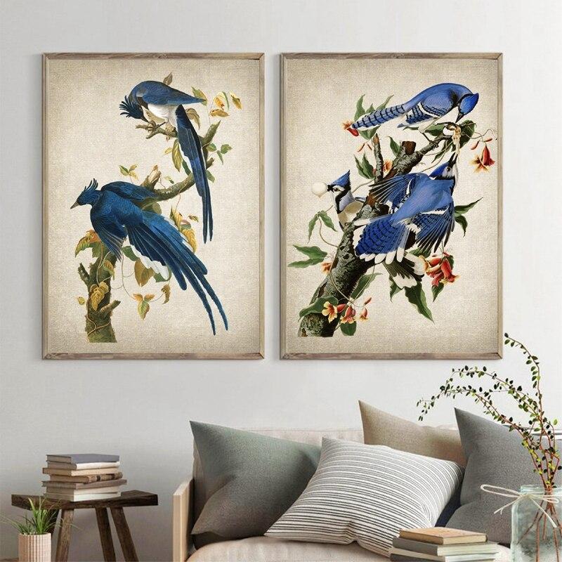 Audubon художественные принты, винтажный постер с изображением колумбийской джейсы, птицы, Картина на холсте, изображения голубой Джейс для гостиной, домашний декор|Рисование и каллиграфия| | АлиЭкспресс